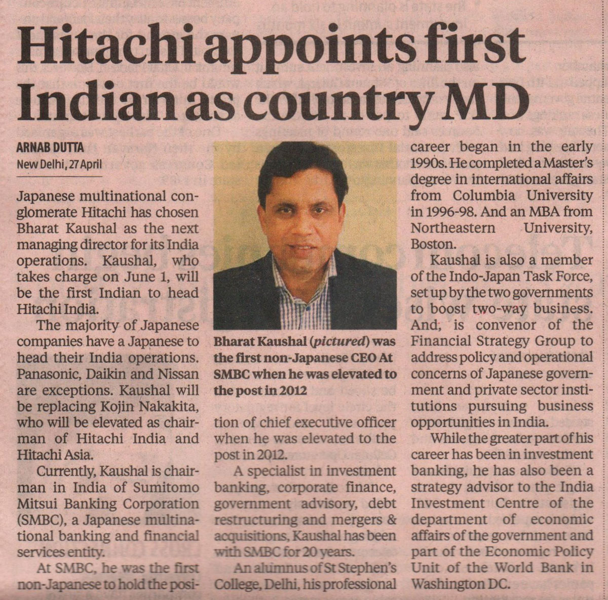 Business Standard covers the appointment of Hitachi India's new MD