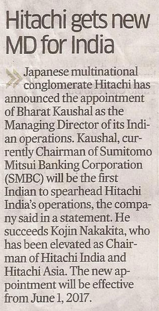 Deccan Herald covers the appointment of Hitachi India's new MD