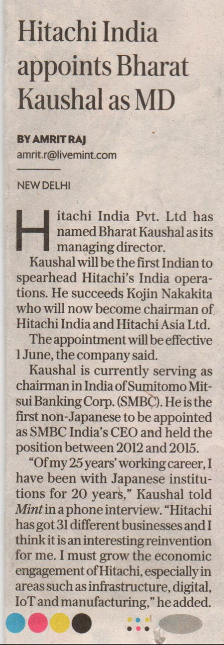 Mint covers the appointment of Hitachi India's new MD