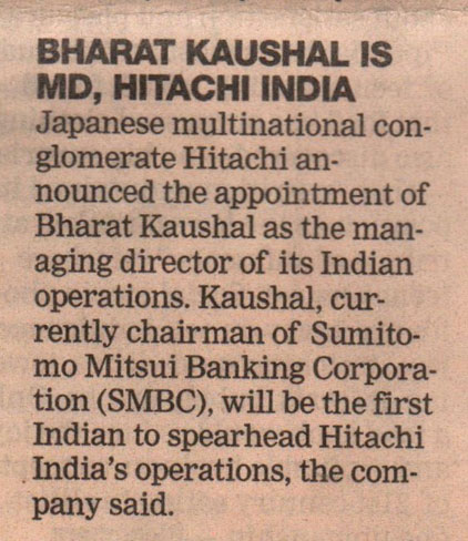 DNA covers the appointment of Hitachi India's new MD