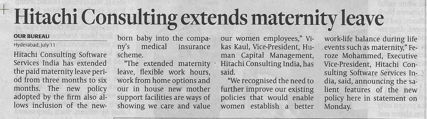 Hitachi Consulting extends maternity leave