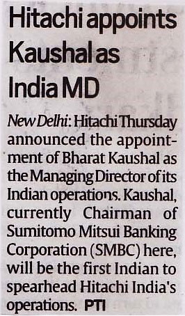 Indian Express covers the appointment of Hitachi India's new MD