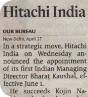 Hindu Business Line covers the appointment of Hitachi India's new MD