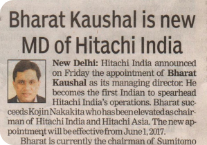 Times of India covers the appointment of Hitachi India's new MD